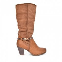 Escape Womens Fudge Tan Long Block heel Boots - Ocala Two