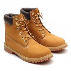 Timberland Junior Premium 6 Inch Boot in Yellow Nubuck Leather