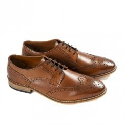 Ikon Men's Thorpe Tan Leather Brogue Shoes