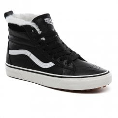 Vans Kids SK8-HI MTE Black Leather Hi Top Warm Fur Trainer Boots