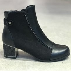 Redz Womens Clara Black Mid Block Heeled Ankle Boots