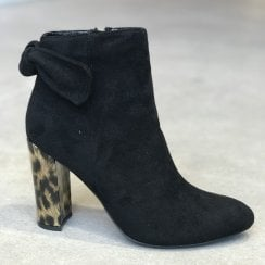 Glamour Glamour Rene Leopard Heel Zip Ankle Boots