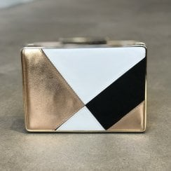 Glamour Gold Black White Roberta Clutch Handbag