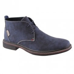 Goor Blue Suede Mens 187 Laced Casual Desert Boots