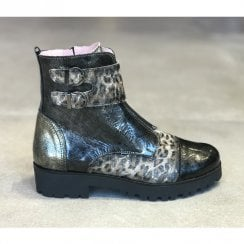 Maria Leon Womens Dark Grey Leopard Patent Buckle Ankle Boots