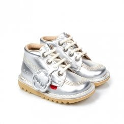 Kickers Kick Hi Classic Infant Boots - Silver