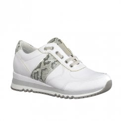 Marco Tozzi Womens White Comb Snake Sneakers