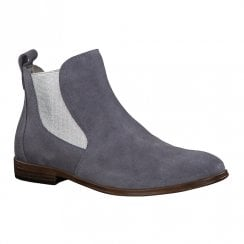 Marco Tozzi Womens Denim Blue Leather Ankle Boots