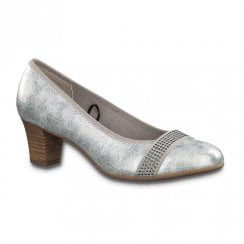 Jana Womens Mid Heeled Ballerina Pumps - White Silver