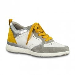 Jana Womens White Yellow Comb Sneakers