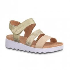 Jana Womens Flat Wedge Velcro Strap Sandals - Rose