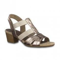 Jana Womens Mid Heeled Elasticated Strap Sandals - Rose Gold