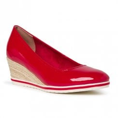 Tamaris Womens Chili Red Patent Wedge Heel Shoes
