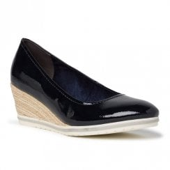Tamaris Womens Navy Patent Wedge Heel Shoes
