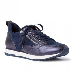 Tamaris Womens Navy Suede Metallic Sneakers Shoes