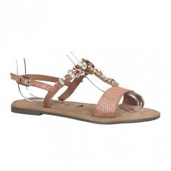 Tamaris Womens Rose Metallic Leather Flat Sandals - 28148-24
