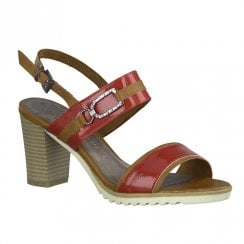 Marco Tozzi Womens Red High Heeled Sling Back Sandals