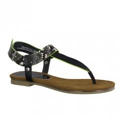 Marco Tozzi Womens Black Flat Thong Style Sandals