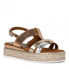 Marco Tozzi Womens Rose Gold Metallic Flat Sling Back Sandals