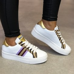 Méliné Womens White/Animal Print Sneakers - UG3016