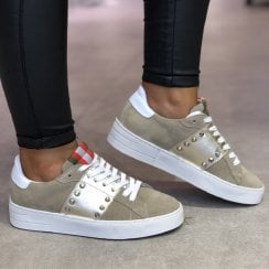 Méliné Womens Taupe Suede Sneakers - STRA3020