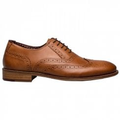London Brogues Mens Gatsby Chesnut Leather Smart Lace Up Shoes