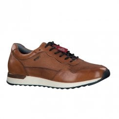 S.Oliver Mens Leather Casual Laced Sneaker Shoes - Cognac Brown