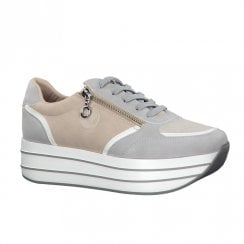 S.Oliver Womens High Flat Platform Sneakers Shoes - Grey/Nude