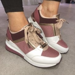 Lloyd & Pryce Ladies Rose/Blush Wedged Trainer - Considine