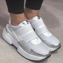 Lloyd & Pryce Ladies Chunky Silver Trainers - Fowley