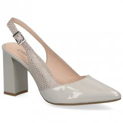 Caprice Premium Leather Pointed Toe Block High Heels - Grey