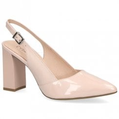 Caprice Premium Leather Pointed Toe Block High Heels - Rose