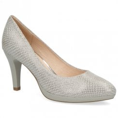 Caprice Premium Leather Court High Heels - Grey Snake
