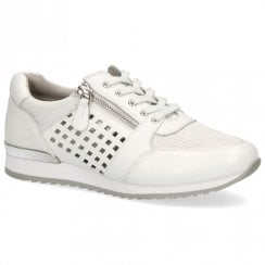 Caprice Premium Leather Flat Sneakers Shoes - White