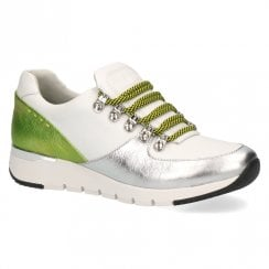 Caprice Women's Leather Wedge Sneakers Shoes - White Lime
