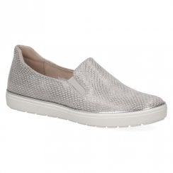 Caprice Women's Leather Flat Slip On Trainers - Grey Snake