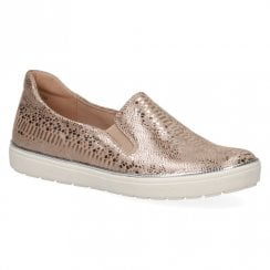 Caprice Women's Leather Flat Slip On Trainers - Gold Reptile
