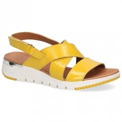Caprice Women's Sling Back Patent Leather Wedge Heeled Sandals - Lemon