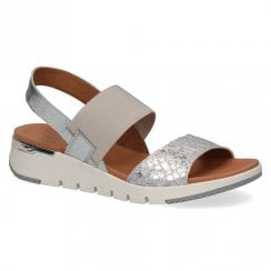 Caprice Women's Sling Back Leather Wedge Heeled Sandals - Silver