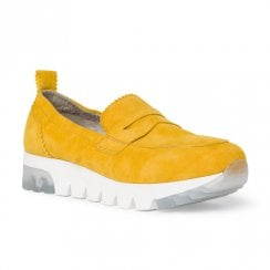 Tamaris Womens Nubuck Slip On Shoes - Sun Yellow