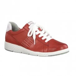 Marco Tozzi Womens Leather Sneakers - Red Leather