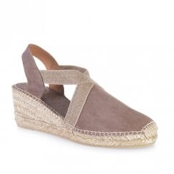 Toni Pons Tona Suede Wedge Heeled Espadrille Sandals - Taupe