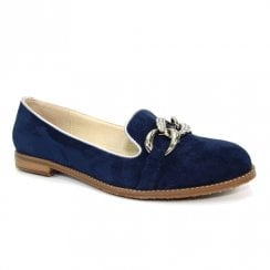 Lunar Womens Navy Suede Flat Loafers Shoes
