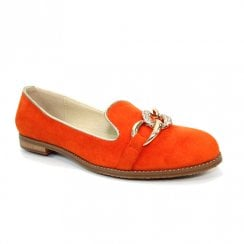 Lunar Womens Orange Suede Flat Loafers Shoes
