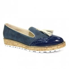 Lunar Womens Michaela Navy Flat Tassel Loafers Shoes