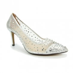Lunar Womens Argo Silver Mesh High Heel Court Occasion Shoes