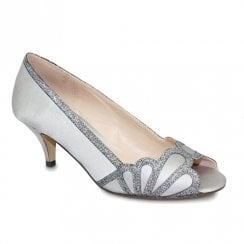 Lunar Dalia Kitten Heel Elegance Slingback Shoes - Grey