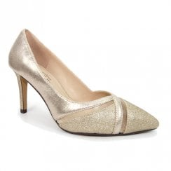 Lunar Joelle Gold High Heel Elegance Court Shoes
