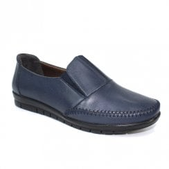 Lunar Womens Lilly Navy Leather Slip On Shoes - FLT008