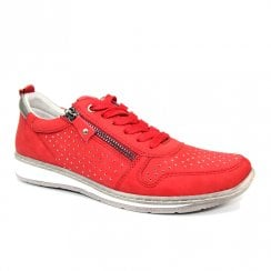 Lunar Womens Leap Red Laced Trainer Shoes